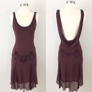 Arden B small Dress Silk Satin Beaded 20's flapper